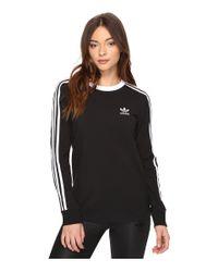 Adidas Originals   Black 3-stripes Long Sleeve Tee   Lyst