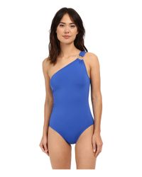 MICHAEL Michael Kors - Blue Logo Ring One Shoulder Maillot One-piece - Lyst
