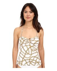 MICHAEL Michael Kors - White Chain Shirred Bandini Top - Lyst