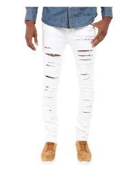 Rustic Dime - Shredded Taper Fit In White for Men - Lyst