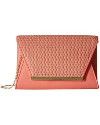 Jessica Mcclintock - Pink Rider Perforated Envelope Clutch - Lyst