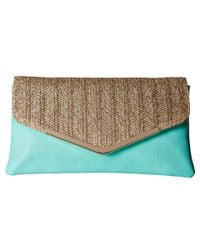 Jessica Mcclintock - Blue Arielle Straw Envelope Clutch - Lyst