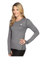 New Balance - Black Heathered Long Sleeve Shirt - Lyst