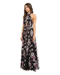 JILL Jill Stuart - Multicolor Collar Neck Front Cut Out Crinkle Chiffon Gown - Lyst
