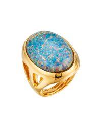 Kenneth Jay Lane - Polished Gold Open Side Blue Opal Cluster Ring - Lyst
