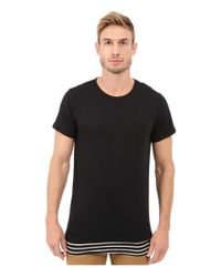 Rustic Dime Black Layered Striped Long Tee for men