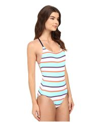 Tommy Bahama Blue Tb Rugby Stripe Low-back One-piece Swimsuit