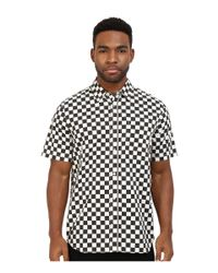Vans checkerboard print short sleeve button down shirt in for Stafford white short sleeve dress shirts