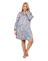 be5d79ca8f1 Lyst - Lauren By Ralph Lauren Plus Size Cotton Sateen Sleepshirt in Blue