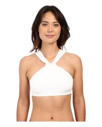 MICHAEL Michael Kors | White Bohemian Rhapsody Beaded High Neck Bra Top W/ Removable Soft Cups | Lyst