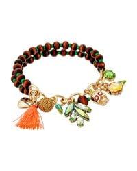 Betsey Johnson - Metallic Goldtone Multicolor Crystal Rainbowwrapped Hinge Bangle Bracelet - Lyst