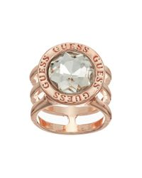 Guess - Metallic Round Crystal Stone With Logo Surround Ring - Lyst