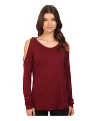 Michael Stars - Red Luxe Slub Long Sleeve Cold Shoulder Tee - Lyst