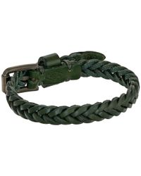 Fossil | Green Vintage Casual Braided Leather Bracelet | Lyst