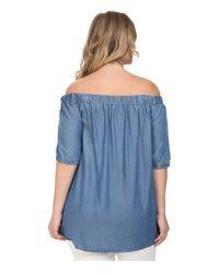 MICHAEL Michael Kors - Blue Plus Size Denim Off Shoulder Short Sleeve Top - Lyst