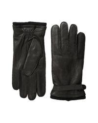 MICHAEL Michael Kors | Black Leather Gloves W/ Handsewn Belt And Snap Detail for Men | Lyst