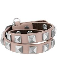 Rebecca Minkoff   Pink Double Row Leather Bracelet With Pyramid Studs   Lyst