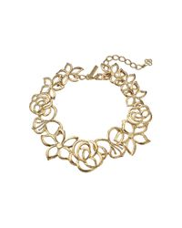 Oscar de la Renta - Metallic Intertwined Floral Necklace - Lyst