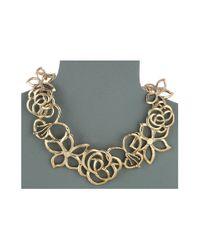 Oscar de la Renta - Metallic Intertwined Floral Necklace - Lyst