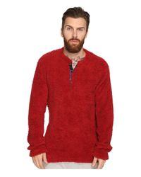 Original Penguin | Red Henley Fleece Lounge Top for Men | Lyst