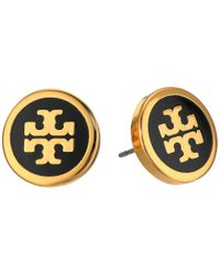 Tory Burch | Black Lacquered Logo Studs Earrings | Lyst