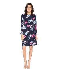 Ellen Tracy | Blue Flutter Sleeve Dress | Lyst