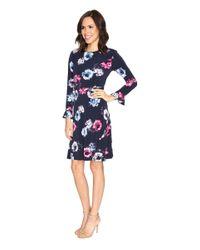 Ellen Tracy - Blue Flutter Sleeve Dress - Lyst