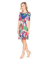Catherine Malandrino | Red Wide Neck Inverted Pleat Dress | Lyst
