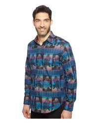 Robert Graham Blue Limited Edition Dancing Buddha Shirt for men