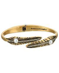 Rebecca Minkoff | Metallic Feather Oval Hinge Bracelet | Lyst