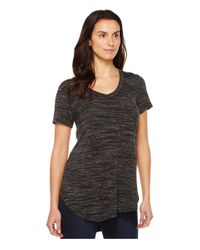 Mod-o-doc Black Space Dyed Rayon Spandex Jersey Back Tie Short Sleeve Tee