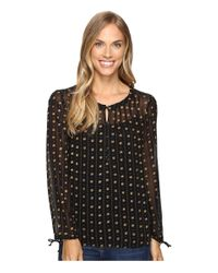Lucky Brand | Black Metallic Dotted Top | Lyst
