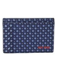 Jack Spade Blue Mosaic Tile Barrow Leather Id Wallet