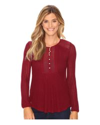 Lucky Brand | Red Drop Needle Knit Top | Lyst