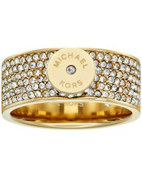 Michael Kors | Metallic Logo Pavé Disc Band Ring | Lyst