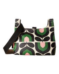 4b6a6779c5 Orla Kiely. Women s Green Matt Laminated Stripe Tulip Print Mini Sling Bag