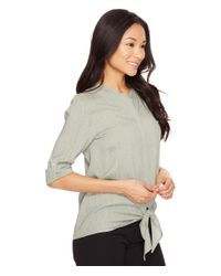 Lilla P | Gray Tie Front Blouse | Lyst