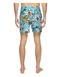 Original Penguin - Blue Tropical Printed Fixed Waist Swim Shorts for Men - Lyst