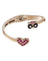 Betsey Johnson | Pink Owl & Pave Heart Bypass Hinged Bangle Bracelet | Lyst