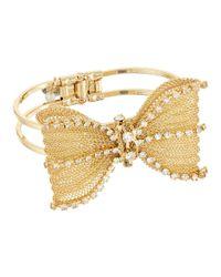 Betsey Johnson | Metallic Mesh Crystal Bow Hinged Bangle Bracelet | Lyst