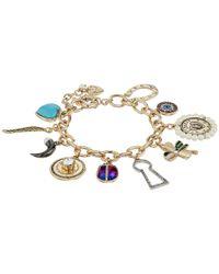 Betsey Johnson | Metallic Mixed Multi Charm Bracelet | Lyst
