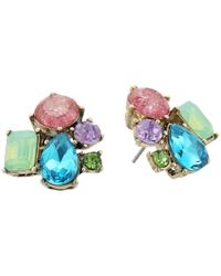 Betsey Johnson | Mixed Multicolored Stone Cluster Button Stud Earrings | Lyst