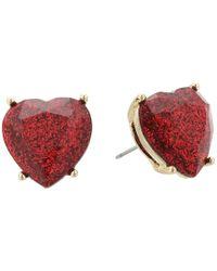 Betsey Johnson - Red Glitter Heart Stone Stud Earrings - Lyst