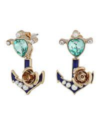 Betsey Johnson   Blue Heart Anchor Earrings Jacket   Lyst