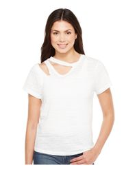 LNA | Double Cut Tee In White | Lyst