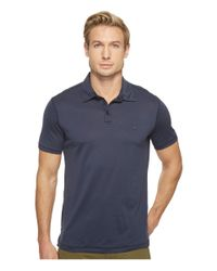 John Varvatos | Blue Matte Sheen Soft Collar Peace Polo With Peace Sign Chest Embroidery K1381t1b for Men | Lyst