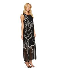 Vince Camuto Black Sleeveless Fluent Cluster Overlay Maxi Dress