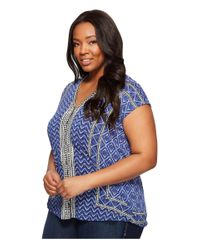 Lucky Brand Blue Plus Size Printed Button Front Top