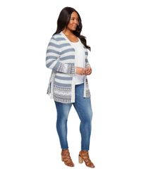 Lucky Brand Blue Plus Size Geo Border Cardigan