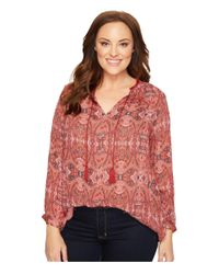 Lucky Brand | Red Plus Size Paisley Fringe Neck Blouse | Lyst